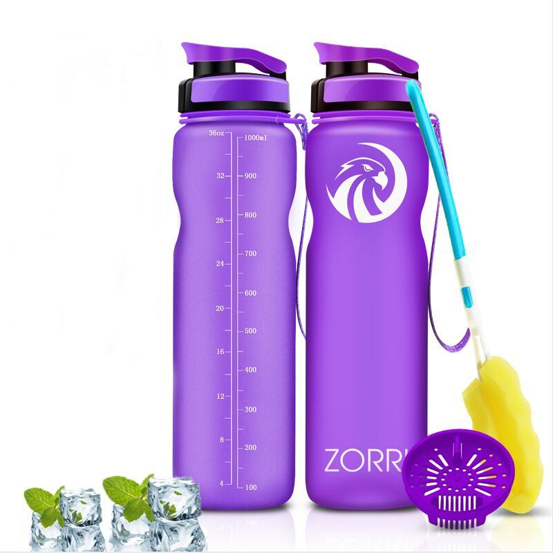Botella para gimnasio ZORRI, coctelera de proteínas, deportes, botella de agua, bicicleta al aire libre, viaje a través del campo, botella de agua para adultos/niños, boquillas para agua