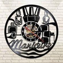 Diseño de manicura para uñas, reloj de pared del salón, silueta, Vintage, de vinilo, reloj de pared, reloj de pared, Decoración, regalo de novia