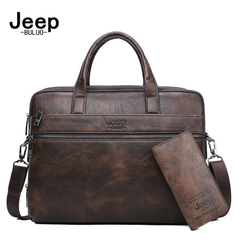 "JEEP BULUO JEEP BULUO Men's Briefcase Bags For 13.3"" Laptop Man Business Shoulder Bag Handbags High Quality Leather Office Black"