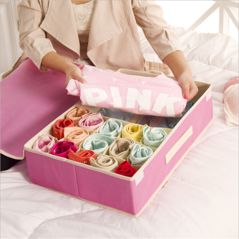 2019 Newly 1pcs /15 grid Bubble pattern Storage Box Ties Socks Bra Panty Underwear Storage Box Container Non woven Storage Box|Drawer Organizers| |  - title=