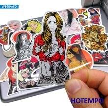 50 pçs sexy beleza tatuagem mau princesa meninas adesivos para o telefone móvel portátil bagagem guitarra caso skate bicicleta decalque adesivos