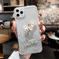 3D Blume Glitter Star Fall für IPhone 11 12 Pro 12Pro 11Pro Max XS X XR Mini 7 8 Plus SE 2020 Glänzende Pailletten Abdeckung Coque Fundas