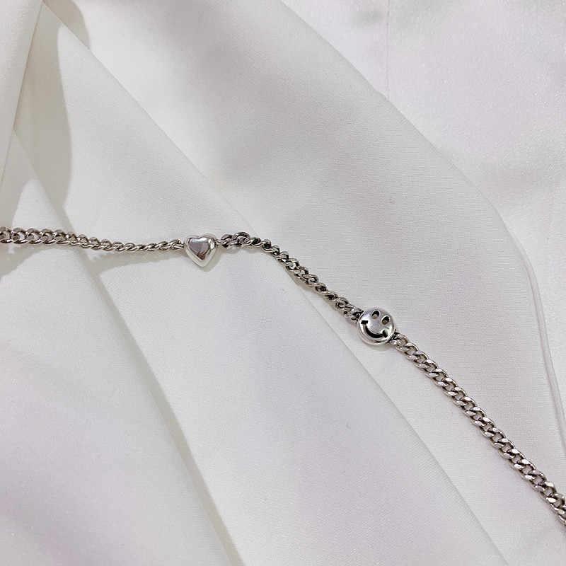 الحب القلب ابتسامة الوجه 925 فضة قلادة قلادة للنساء بسيط Vintage مصمم سلسلة مجوهرات هدية