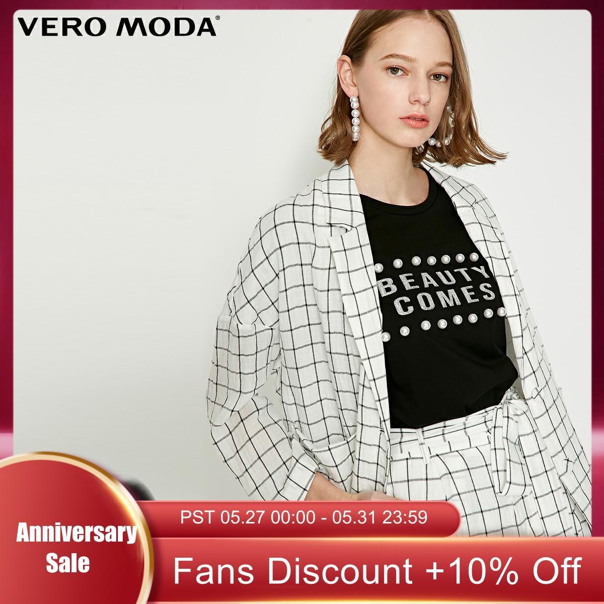 Vero Moda Women's Vintage Style Loose Fit Lapel Plaid Blazer   319208517