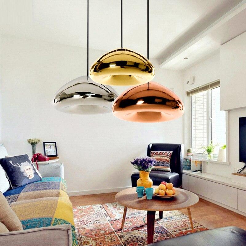 Creative glass semicircular golden Pendant Light single head Lamp plated brass glass Nordic restaurant bar Pendant Lighting NO10