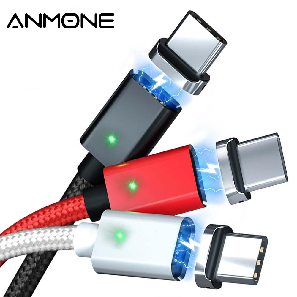 ANMONE Type C Magnetic Cable Quick Charge USB C Cable 1m 2m Android Data Cord Mobile Phone Fast Charging Magnet USB Type C Wire|Mobile Phone Cables|   - AliExpress