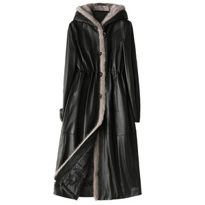 Image 5 - Classic Autumn Winter Leather Mink Collar Hooded Down Jackets Woman Thick Warm Black Real Fur Long Coat High Quality Outwear