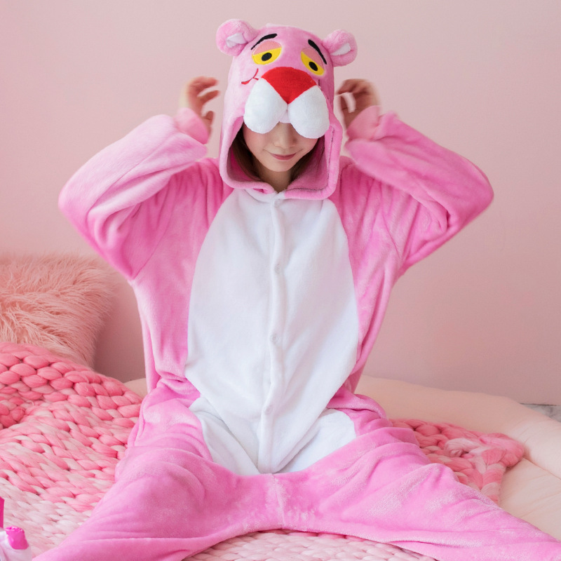 Kigurumi Long Sleeve Hooded Pink Panther Onesie Women Flannel Kigurumi For Adults Whole Onepiece Animal Pajamas Kugurumi Onsie