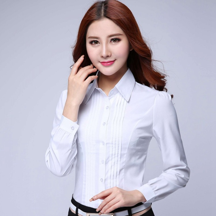 Fashion Formal Shirt Women Clothes 2019 New Slim Long Sleeve White Blouse Elegant OL Office Ladies Work Wear Plus Size Tops
