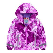 Brand Waterproof Warm Fleece Lavender Print Child Coat Baby Girls Jackets Children Outerwear Kids Outfits For Height of 98 152cm