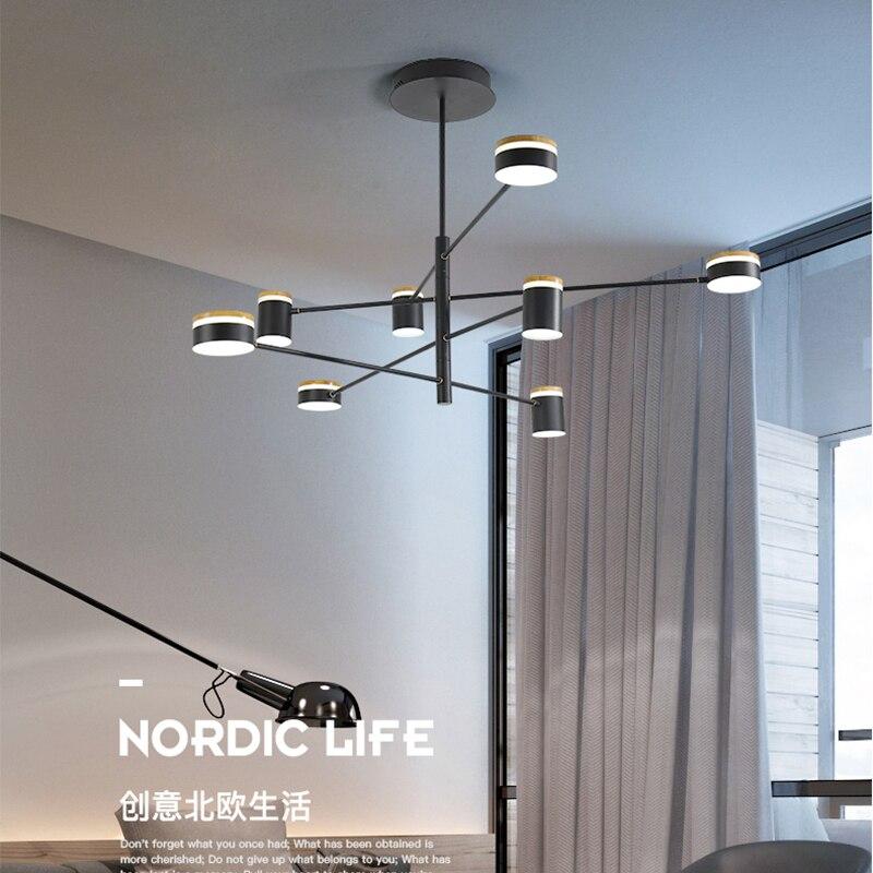 Nordic living room pendant chandelier modern minimalist bedroom restaurant Black LED 2019 new