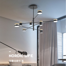 Nordic living room pendant chandelier modern minimalist bedroom restaurant Black LED 2019 new
