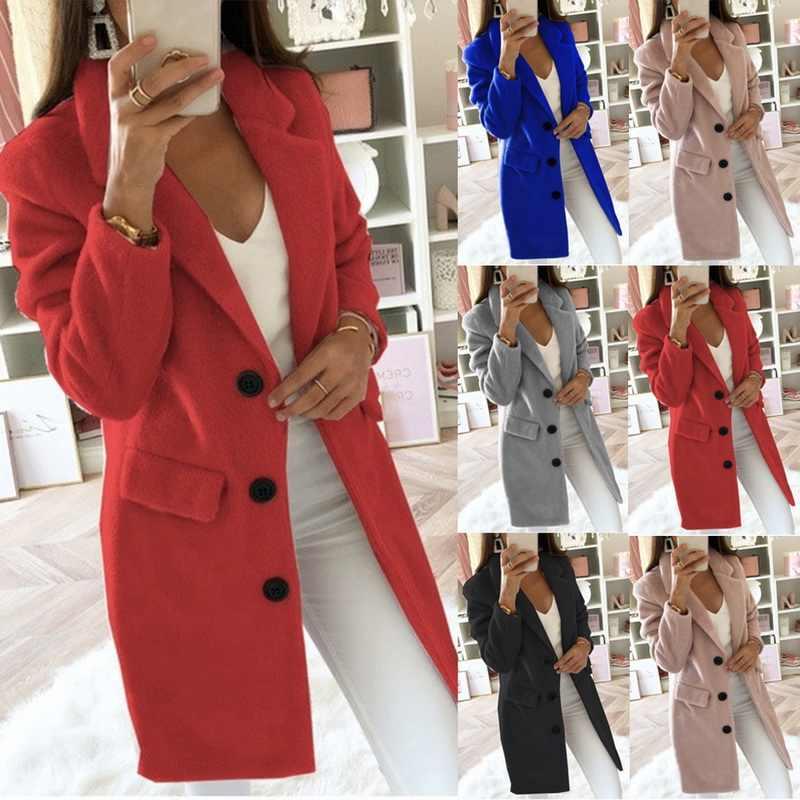 MJARTORIA 2020 春スリムロングウールブレンドコート秋のコートの女性の女性のコートプラスサイズ 5XL カジュアル固体女性の上着ジャケット