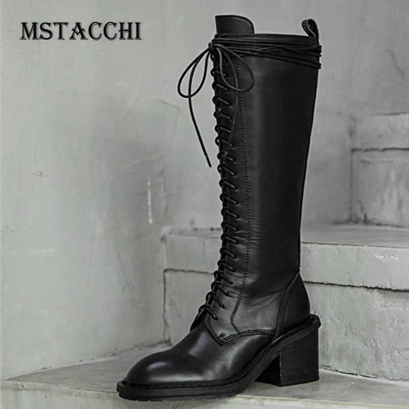 MStacchi 膝ロング乗馬ブーツ女性リアルレザージッパークロスレースアップ Stivali ドナ女性冬暖かいラバーソールブーツ