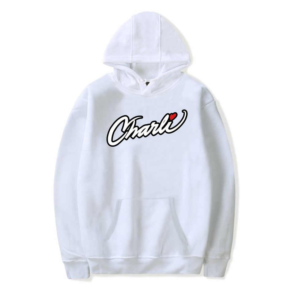 X-Small WAWNI Charli Damelio Merch Charli Script Sweat-shirts pour homme et femme Internet Celebrity Pullover Surv/êtement Blanc