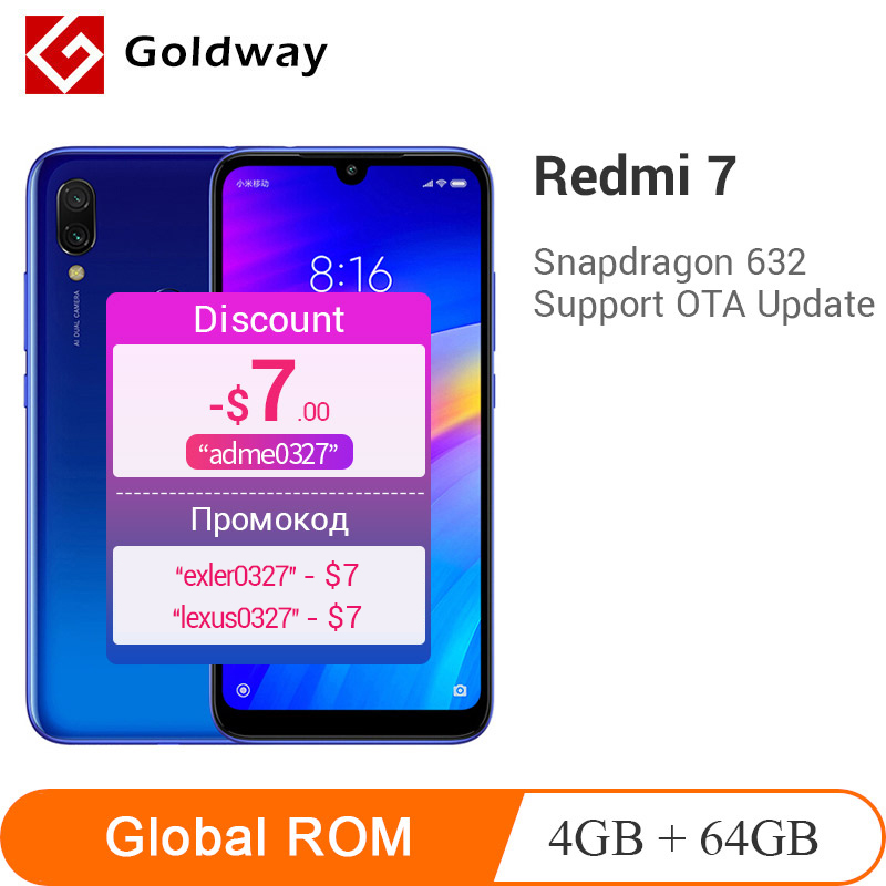 "Global ROM Xiaomi Redmi 7 4GB 64GB Smartphone Snapdragon 632 Octa Core 6.26"" Full Screen 12MP Camera 4000mAh Battery Redmi7"