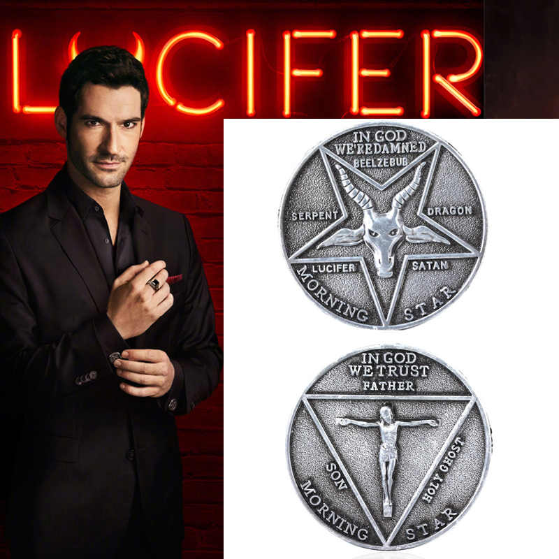 Satanic Lucifer Morning Star Badge Coin Cosplay Props Unisex Halloween Pentecostal Accessoires Satanic Badge