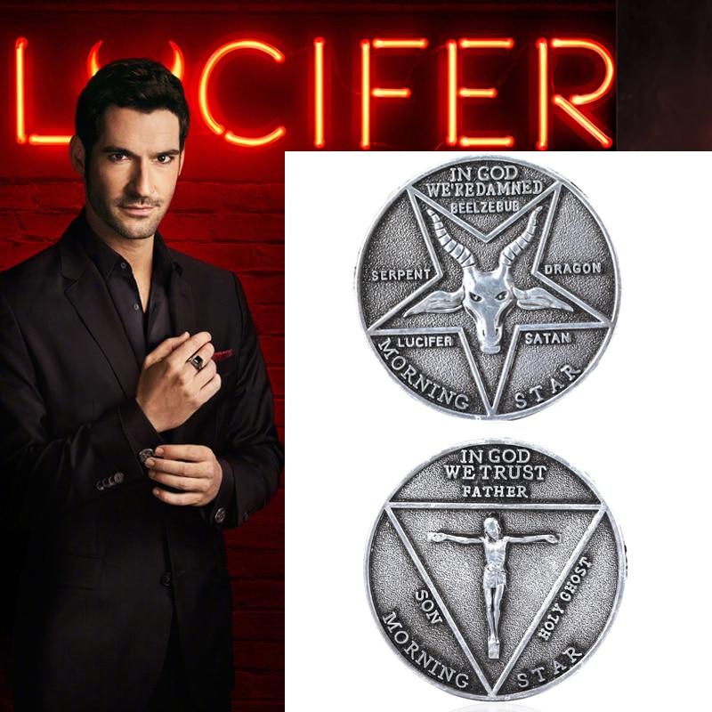 Satanic Lucifer Morning Star Badge Coin Cosplay Props Unisex Halloween Pentecostal Accessories Satanic Badge