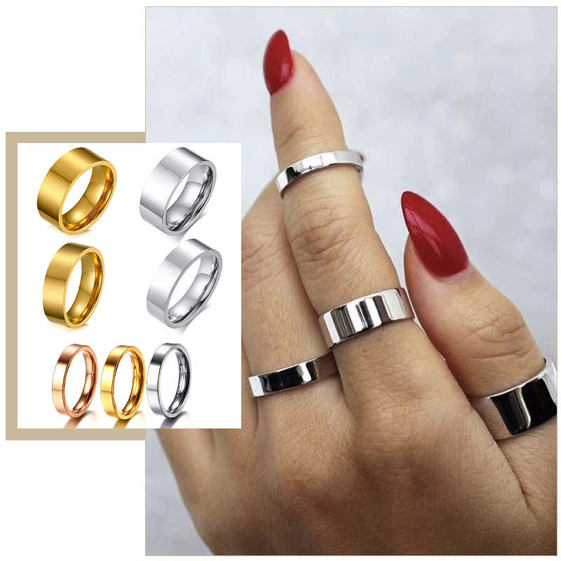 Chic Sederhana Wanita Cincin Polos Stainless Steel Band 2/4/6/8/10 Mm Bentuk Tabung cincin Candid Perhiasan