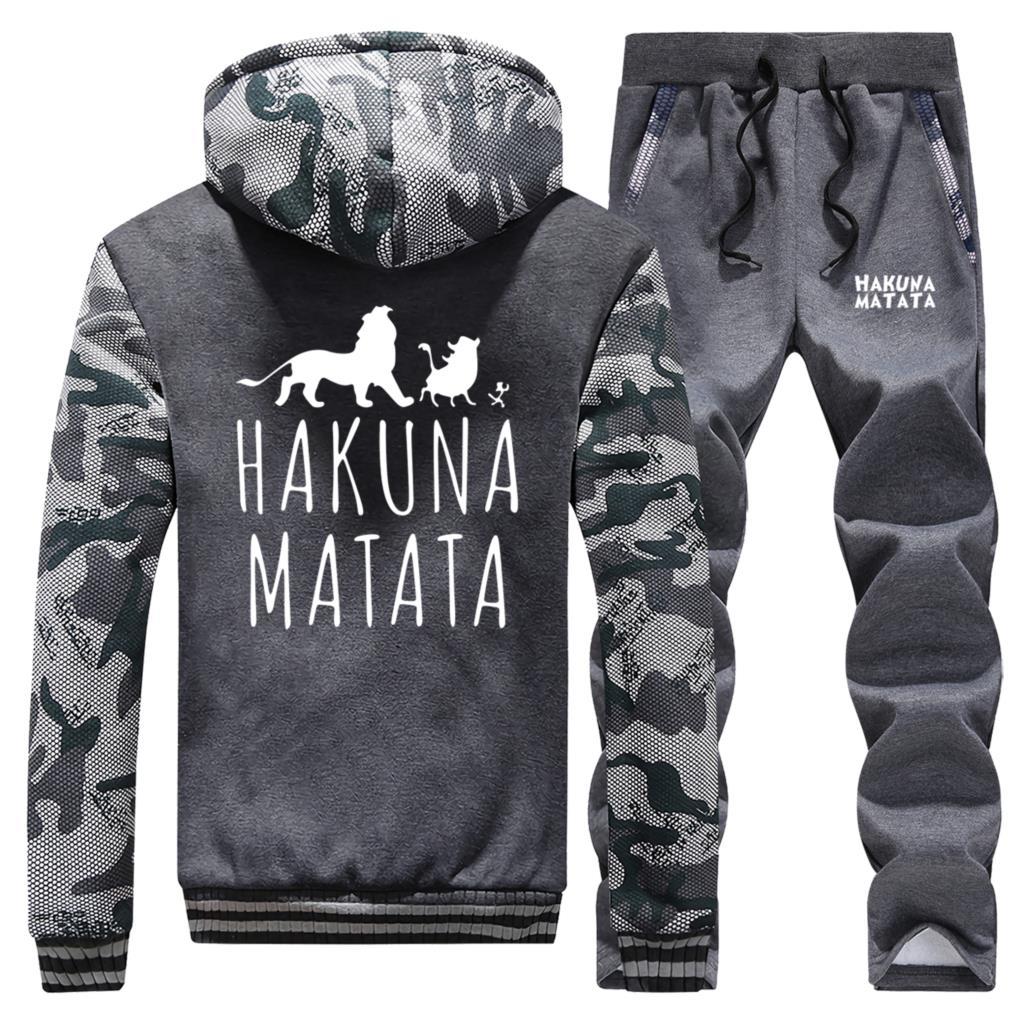 2019 Autumn HAKUNA MATATA Coats Mens Tracksuit The Lion King Men's Sweatshirt + Sweatpants Fashion 2 Piece Sets Brand Sportswear