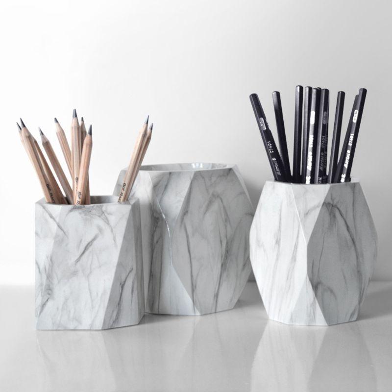 1 PC Nordic Marble Desk Pens Pencil Holder Case Makeup Brush Storage Box Organizer Desk Organizer Office Accessories