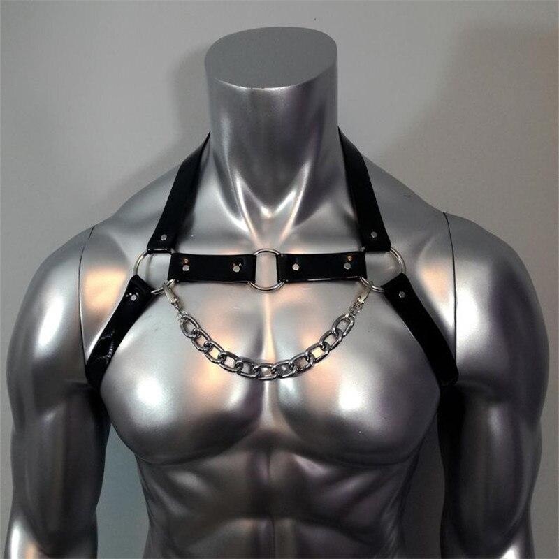 Фетиш, мужские ремни, готические регулируемые кожаные топы, клетка для тела, грудь, связывание, ремень, Панк Рейв, костюмы для БДСМ секса