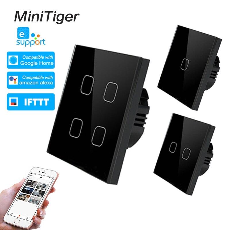 Minitiger ewelink Smart Home 4 Gang 1 way Wireless WiFi EU Standard Touch Switch Wall Light Switch,Luxury Crystal Glass