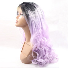 Ombre Purple Body wave Synthetic Lace Front Wig Glueless Long Natural Black//Purple Heat Resistant Hair Wigs Cosplay Wigs цена 2017