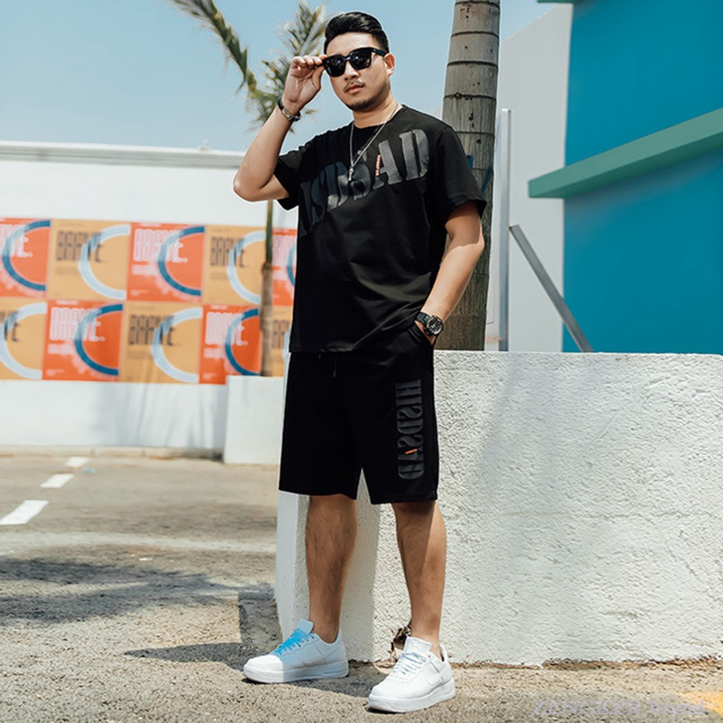 Men's Summer Suit Plus Fat Plus Size Tide Fat Shorts Short-sleeved Trend Fashion Loose Five Points 130 Kg Xl-6x