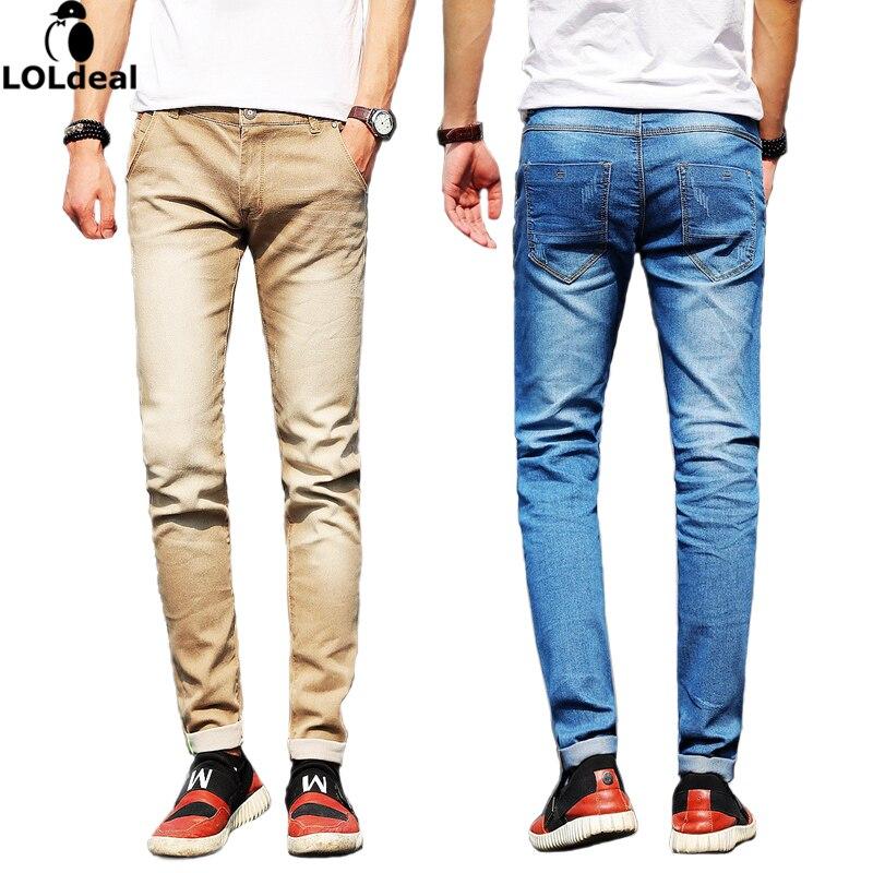 Loldeal Men's Jeans, 28 To 38 Black and Blue Elastic Denim Slim Pants (Asian Size)