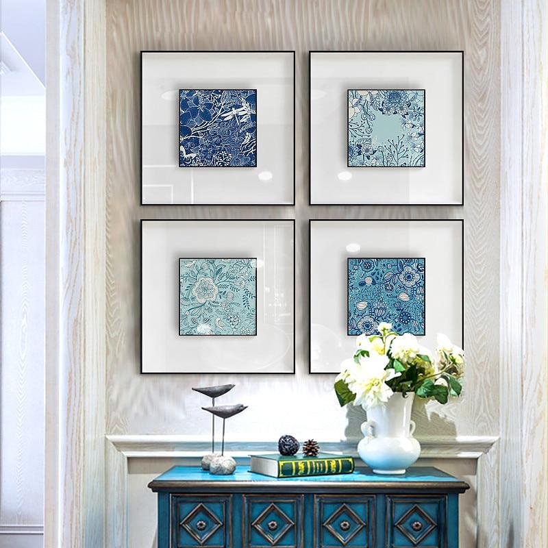 Современный средиземноморский синий абстрактный цветок на холсте плакаты и принты настенные художественные картины для гостиной Декор без рамки|Рисование и каллиграфия|   | АлиЭкспресс