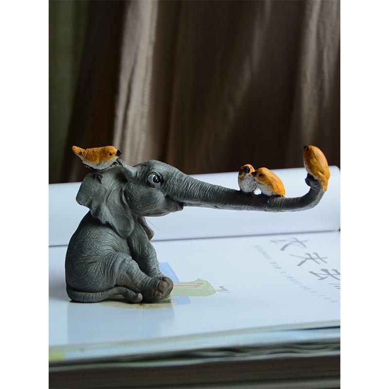 Big Elephant Figurines Fairy Garden Animal Ornaments Home Decor Tabletop Decor Souvenir Crafts Decoracion Hogar Nordico Moderno