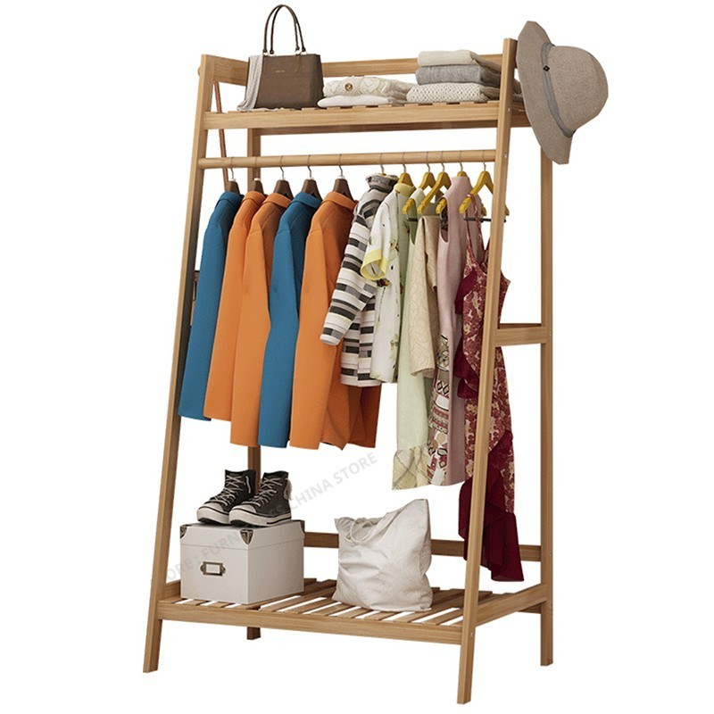 Bamboo Furniture Coat Rack Racks For Clothes Wardrobe  Stand Standing Rack Jacket Holder Jacket Hanger Shoe Rack Wood