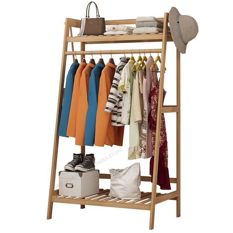 Bamboo Furniture Coat Rack Racks For Clothes Wardrobe  Stand Standing Rack Jacket Holder Jacket Hanger Shoe Rack Wood