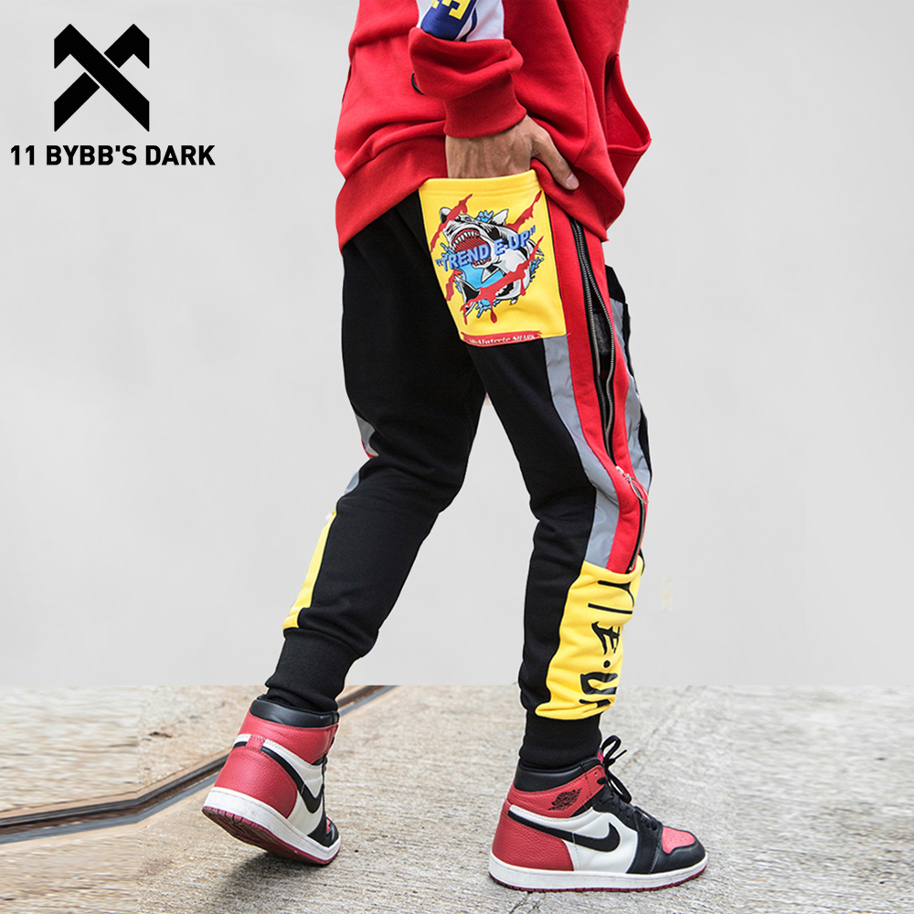 11 BYBB'S DARK Winter Warm Fashion Casual Pants Streetwear Side Zipper Men Harem Jogger Color Block Fleece Harajuku Sweatpants