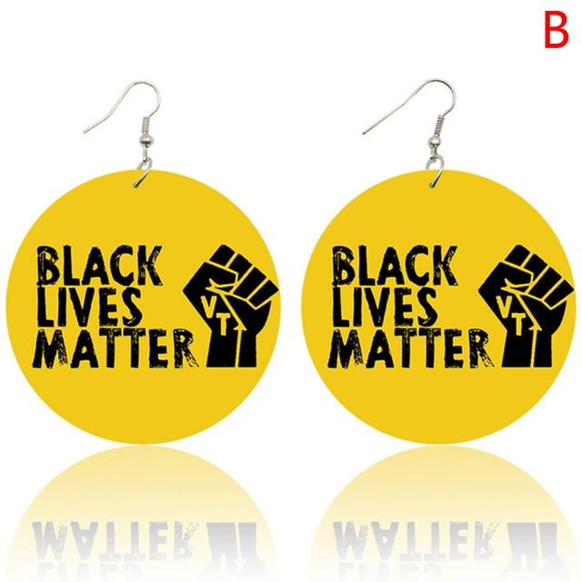 #blacklivesmatter #blm Protest Gear BLM Earring Wood Wooden Circle Black Lives Matter Earrings Wooden Cutout Earrings