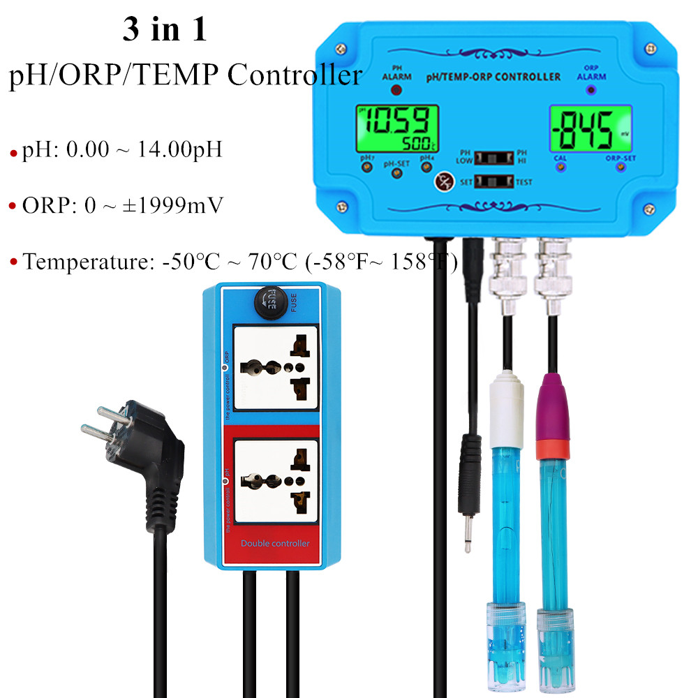 New 3 in1pH/ORP/TEMP Controller Professional Water Quality Controller Electrode BNC Type Probe PH ORP Dual Display Control40%off|PH Meters| |  - title=