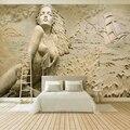 Настенная живопись на заказ в Европейском стиле  Золотой 3D стереоскопический рельефный морской волны  парусник  красота  фото  обои  фотообо...