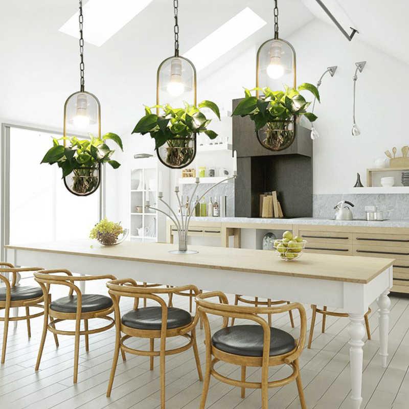 LED จี้ไฟ Pastoral Creative แขวนโคมไฟร้านอาหาร Cafe โคมไฟ E27 ตกแต่งหม้อพืชจี้ไฟ