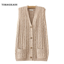 Women Knitting Vest V Neck Single Breasted Twist Sweater Cardigan 2021 Autumn Casual Pockets Sleeveless Knit Female Tops Cloth