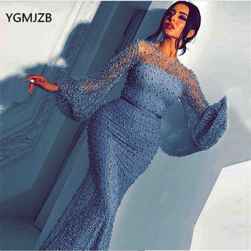 Long Evening Dresses Lace Mermaid Long Sleeves Full Pearls Beading Arabic Formal Party Dress Evening Gown Robe De Soiree 2020