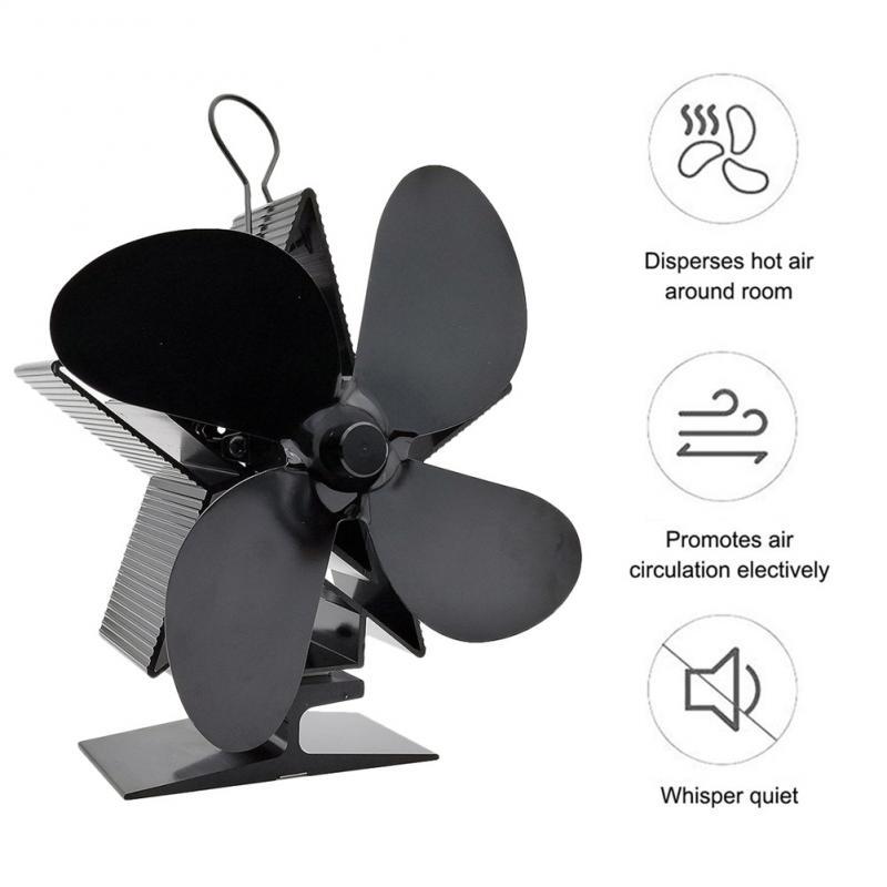 T1 4-Blade Stove Fan Eco Friendly Heated Fan Fireplace Fan For Wood Burning Ecological Fan