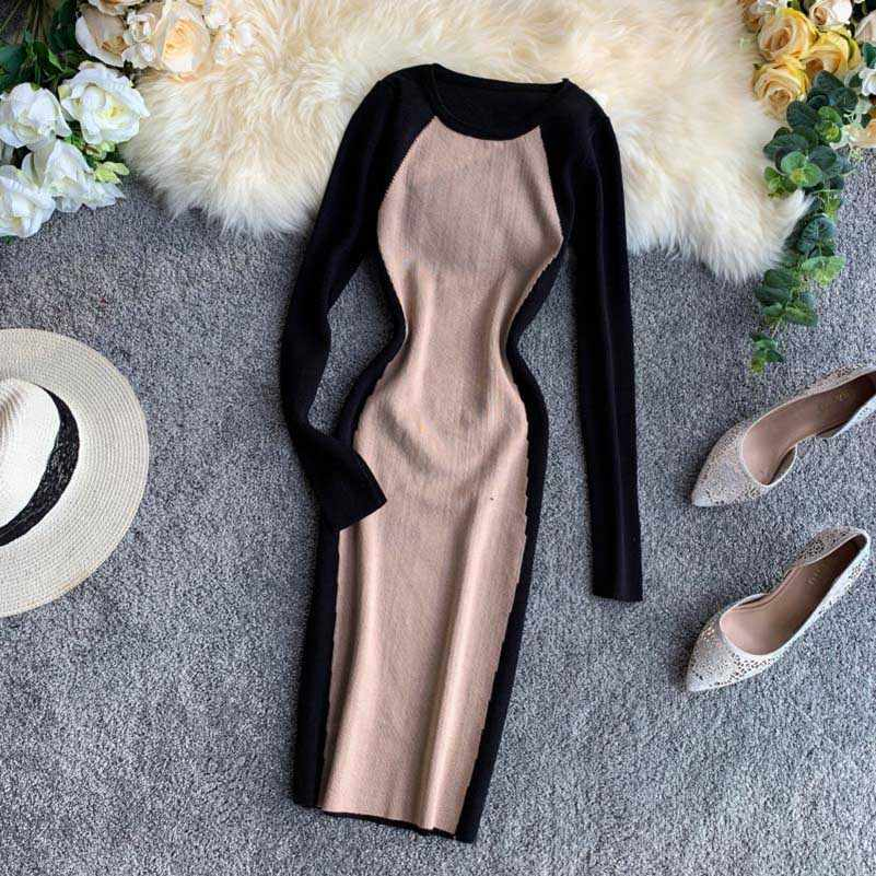 NiceMix 2019 Western style Knitted Dress assorted colors Design Long Sleeve Elastic Force Package Hip Sweater Dress