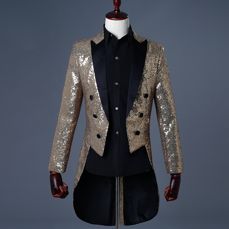 WENYUJH 2019 New Men Gold Silver Red Blue Black Sequin Slim Tailcoat Stage  Prom Dress Costume Wedding Groom Suit Jacket