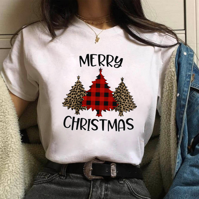 WVIOCE Merry Christmas Women T-shirt Christmas Tree Graphic Print Short Sleeve Top Modal Large Size Round Neck Female Clothes