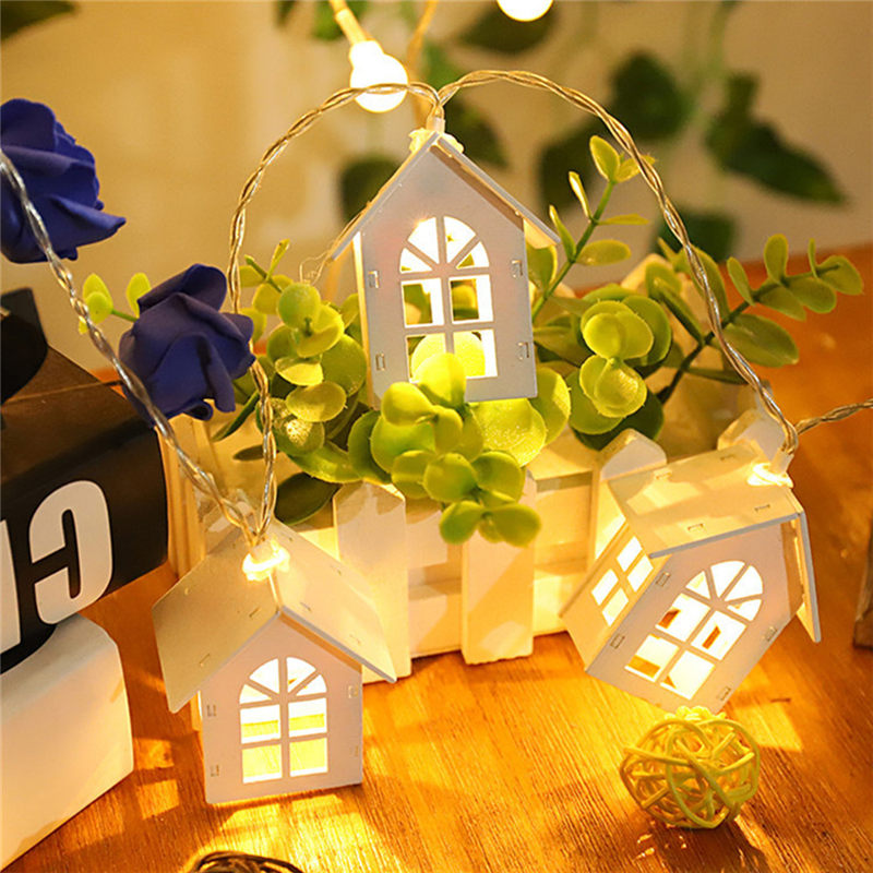 2m 10 Beads LED Garland Wood House String Light Room Decor String Lamp Wedding Party Holiday Fairy Lights Novelty Lamp