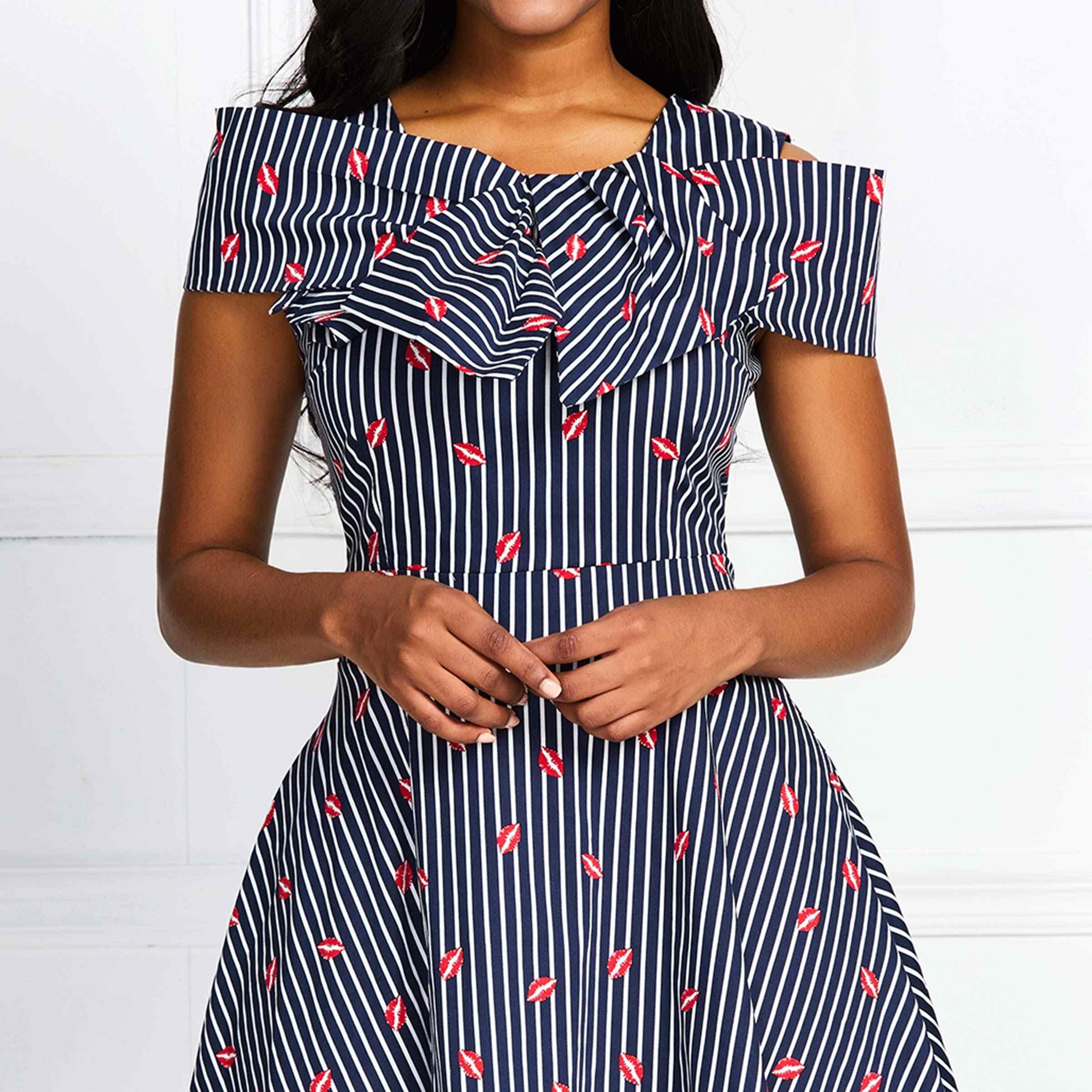 夏 2020 ヴィンテージ女性ストライプドレスファッション女性チュニック半袖アフリカ A ラインプラスサイズ 3XL 4XL ピンアップドレスレトロ