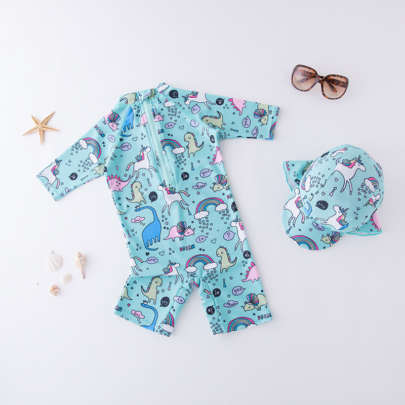 Boys' Cotton One-piece Swimsuit Blue Cartoon Animal World-KID'S Swimwear Hot Springs Clothing