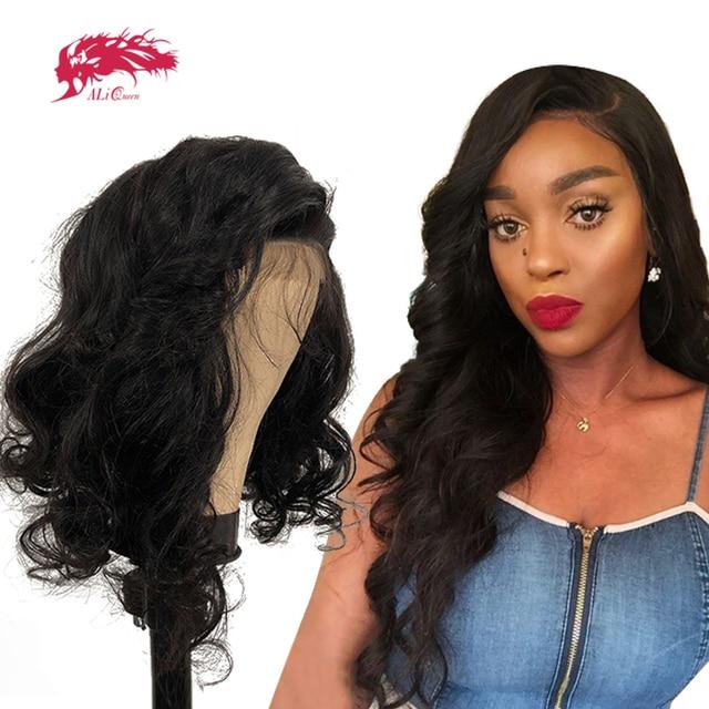 """13x4 luźne koronkowa fala peruka Front dla czarnych kobiet Natural Black 8 """" 26"""" Ali królowa Virgin Remy wstępnie oskubane Hairline peruki z włosów ludzkich Peruki z ludzkich włosów na siatce    -"""
