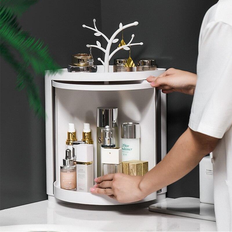 New Plastic 360 Rotating Bathroom Kitchen Storage Rack Organizer Shower Shelf Makeup Tray Holder Washing Shower Organizer